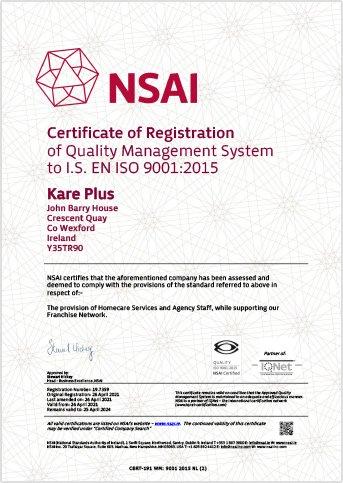 NSAI certificate of registration Kare Plus